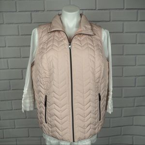 CJ banks 1X shell pink chevron quilted zip vest